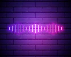 Neon composition of Digital sound wave. Vector abstract illustration of neon Music wave shape. Wavy motion glowing line, pulsating audio track. Isolated outline icon, symbol. Blue pink gradient isolated on brick wall.