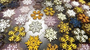 Flocos de neve coloridos em 3D com partículas douradas