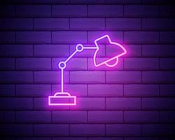 Glowing neon line Table lamp icon isolated on brick wall background. Table office lamp. Vector Illustration