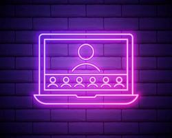 Neon online education icon. Glowing neon webinar sign, digital study in vivid colors. Video course, distance learning, teaching platform. Icon set, sign, symbol for UI. Vector illustration.
