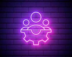 Man and gear neon icon. Simple thin line, outline vector of startup icons for ui and ux, website or mobile application isolated on brick wall.