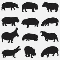 Conjunto de plantillas de diseño de vector de siluetas de hipopótamo