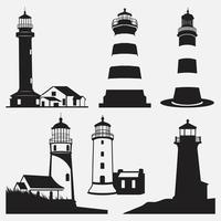 Lighthouse Silhouettes vector design templates set