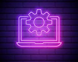 Glowing neon line Laptop and gear icon isolated on brick wall background. Laptop service concept. Adjusting app, setting options, maintenance, repair, fixing. Vector Illustration.