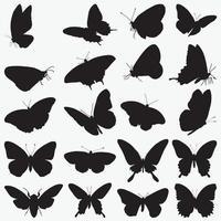 Butterflies Silhouettes vector design templates set