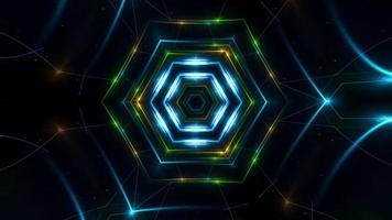 Futuristic Neon Style Loops in Green, Yellow, Blue with Abstract Geometry, Rotation, and Flickering Flashlights