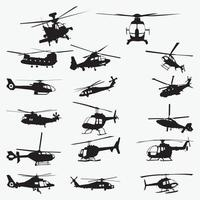 Helicopter Silhouette vector design templates set