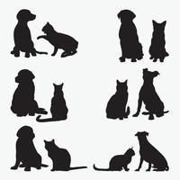 gato, perro, siluetas, vector, diseño, plantillas, conjunto vector