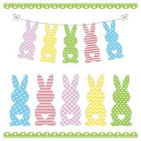 Set of Easter bunny templates with different ornaments vector