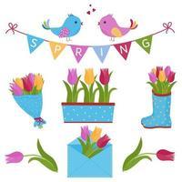 primavera con pájaros y tulipanes vector