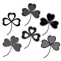 Clover Clover with ornament black stencil for Patrick's Dayset black stencil vector