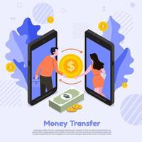Two smartphones transferring money to each other. vector