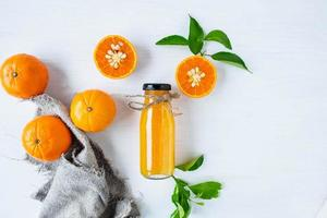 Top view of citrus fruit and juice photo