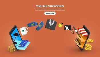 compras en línea que ocurren entre dos teléfonos inteligentes vector