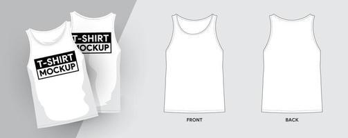 plantillas gráficas de maquetas de ropa. Camiseta sin mangas vector