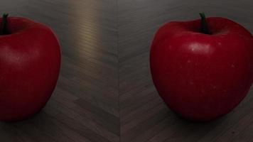 Manzanas rojas moviéndose sobre una mesa de madera video