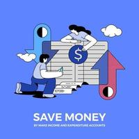People saving money and keeping a bank record vector