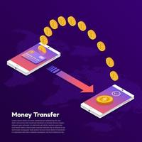 Two smartphones transferring money to each other vector