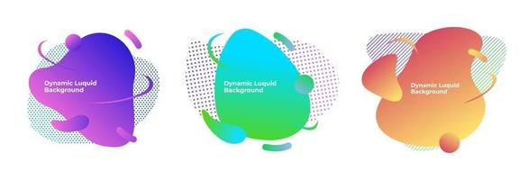 Vector set of graphic element with dynamic fluid shapes