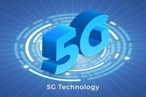 Typography 5G on abstract background vector