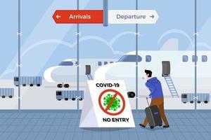 El aeropuerto prohíbe a los pasajeros en riesgo de covid-19 ingresar al país vector