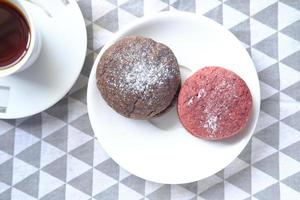 Close up of red velvet cookies photo