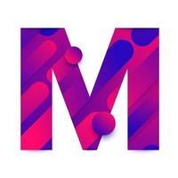 Letra del alfabeto con fondo degradado abstracto. letra m vector