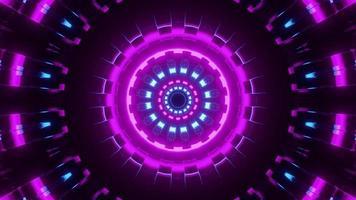 Ilustração 3 d de um túnel em movimento com luzes de néon