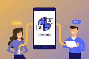 personas que usan la aplicación de traducción de idiomas vector