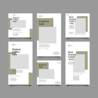 Social media coffee feed post bundle kit template vector