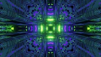Mouvement néon abstrait tunnel sur illustration 3d video