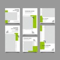 Simple geometric social media template set vector