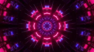 Ilustração 3 d de um túnel em movimento com luzes coloridas