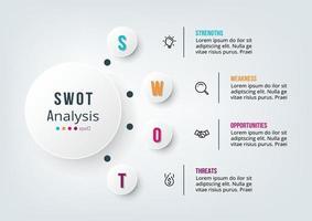 negocio de análisis foda o plantilla de infografía de diagrama de marketing. vector