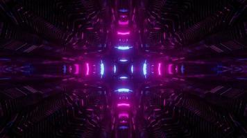 Ilustração 3 d do corredor com luzes de néon brilhantes video
