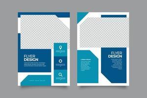 flyer geométrico plano azul plantillas de atención médica médica vector
