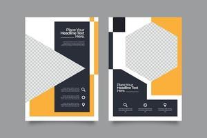 Webinar orange template flyer set vector