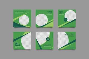 colección de redes sociales de venta de moda redonda verde vector