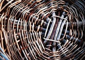 Detail of the bottom of a wicker basket