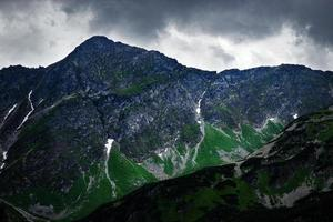 Dark sky over a rocky peak in the mountains