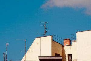 TV antenna on a rooftop of a house