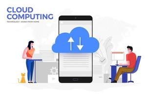 Cloud Computing Allowing People to Work from Home vector