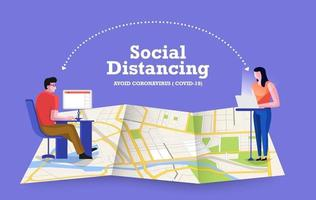 Social distancing to avoid COVID-19 vector