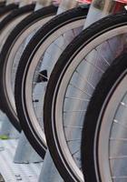 Bicycle wheel on the street photo