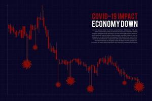 Impacto negativo del covid-19 en el gráfico económico vector