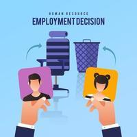 decisión de recursos humanos de contratar a uno de los dos solicitantes vector