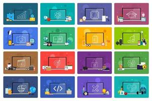 Online education. E-learning course study from home. vector