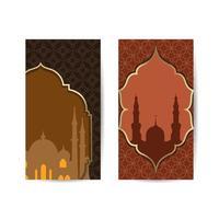 Mezquita adecuada para el saludo de Ramadán y Eid, fondo, celebración islámica. banner de fondo islámico vector