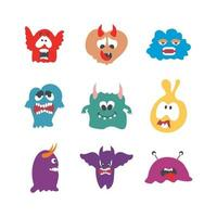 Monster character set vector