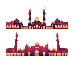 Modern Flat Elegant Islamic Mosque Building collection vector